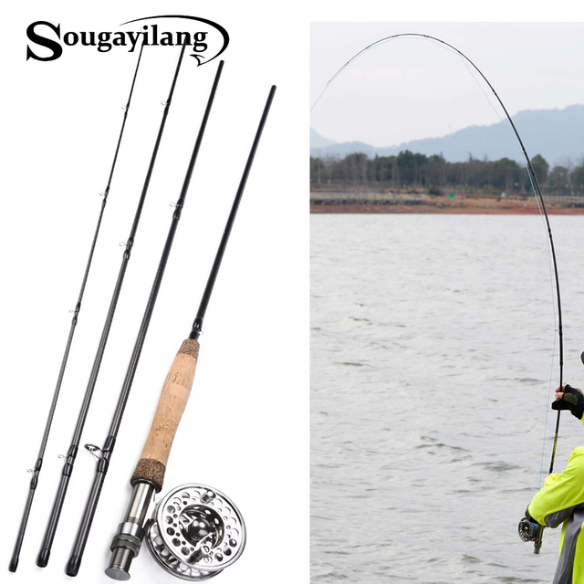 4319864b1 Sougayilang Fly Fishing Rod and Reel Combos Portable Freshwater Fly Fishing  Full Metal 5 6
