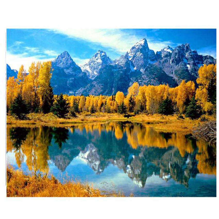Hand Painted Canvas Oil Paintings,Paint By Number Kits,Landscape Lake Painting Coloring By Numbers