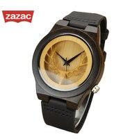 2017 Hot Black Hollow Deer Mens Leather Quartz Wristwatch Relogio Masculino Bamboo Wooden Watches Dress Wristwatch