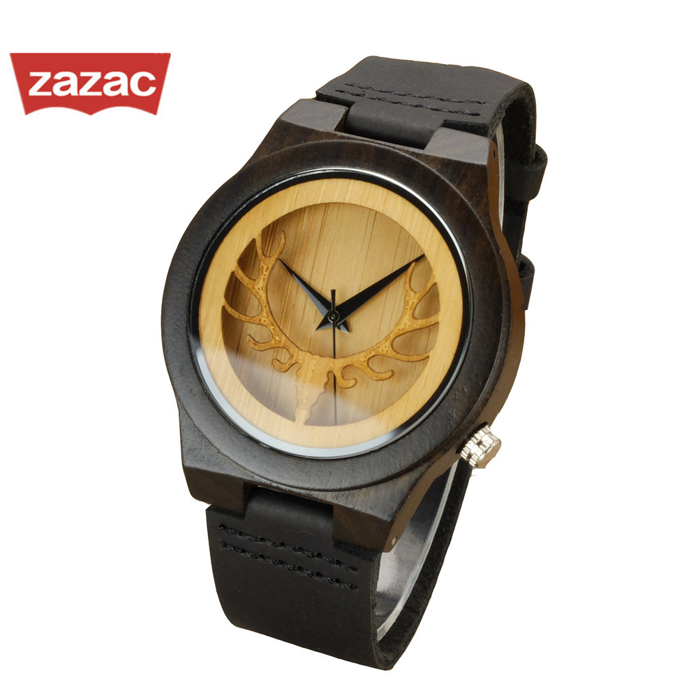 2017 Promotion Hot Black Hollow Deer Mens Leather Quartz Wristwatch Relogio Masculino Bamboo Wooden Watches Dress For Unisex new 100% handmade head deer elk dial design mens bamboo wood quartz watch with real leather strap for gift relogio masculino