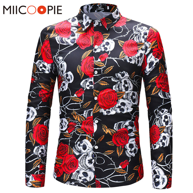 Men Retro Flower Shirts 2018 New Fashion Design Casual Shirt Skulls Roses Flowers 3d  Print Social Long Sleeves Slim Fit Shirt