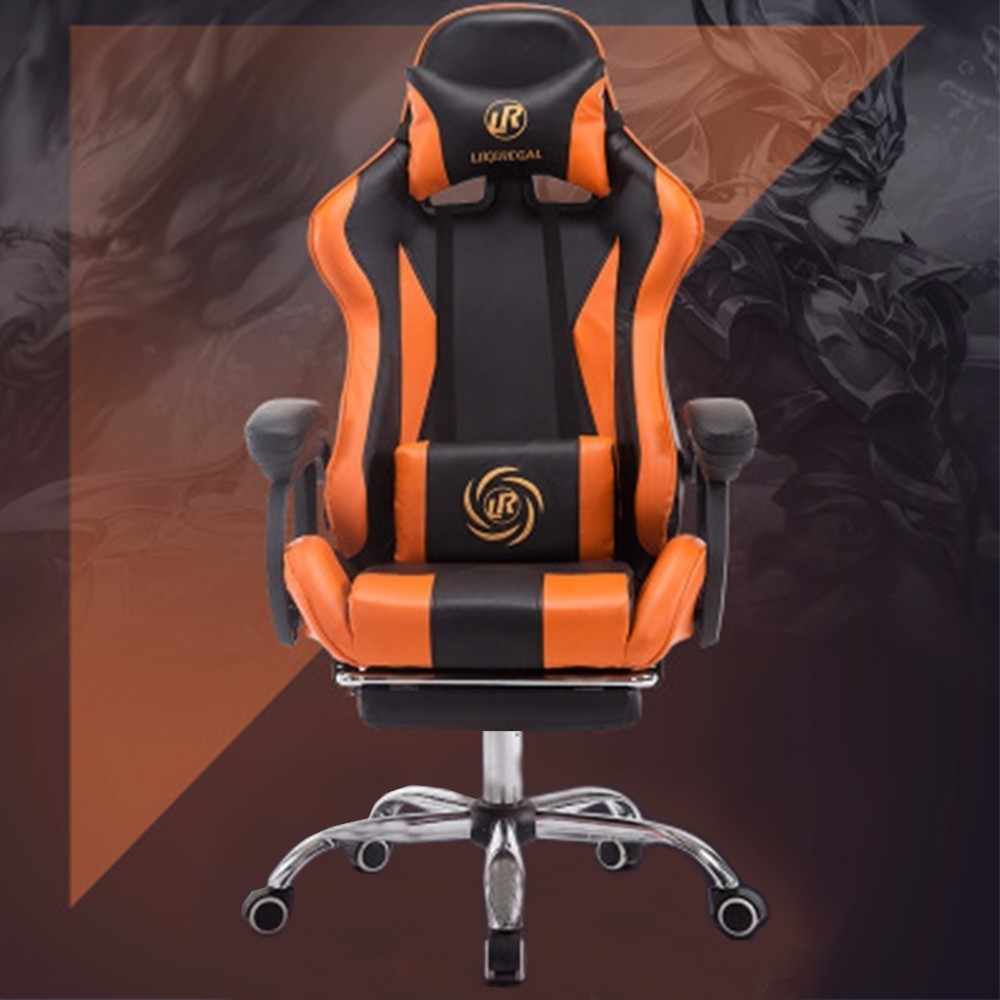 Orange black with footrest multi-function fashion home reclining office chair with pedal racing seat game chair цена