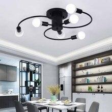 BOKT American Ceiling Lights For Living Bedroom Industrial Black LED light Bulb Light Fixture Home Room Decor