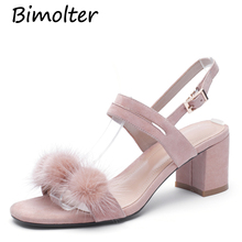Bimolter Hot Summer Woman Sandals Peep Toe Embellished Feather Buckle Design Slingback Glitter Women Shoes Square Heels NC107 faux feather embellished solid tee