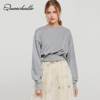 Queechalle Brief hoody women t shirt Spring fashion belt buckle design casual t shirt for women loose cotton female tops gray