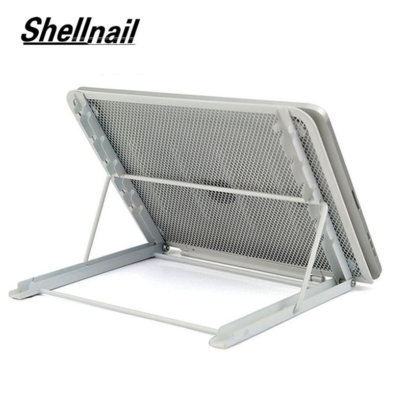 Shellnail Adjustable Laptop Stand Folding Cool Mesh Bracket Desktop Office Tablet For iPad Heat Reduction Holder Mount Support