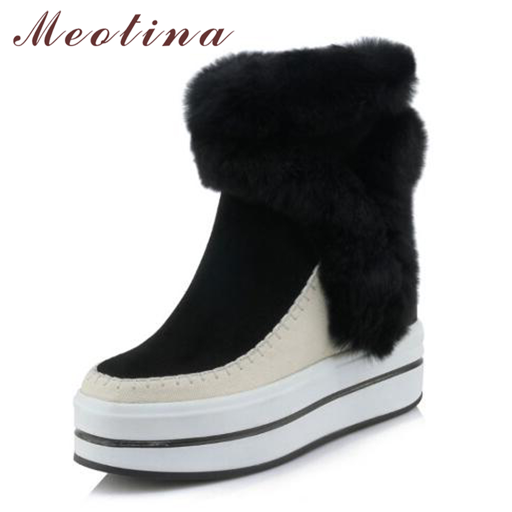 Meotina Ankle Boots Winter Genuine Leather Snow Boots Women Real Rabbit Fur Warm Platform High Heel Boots Wedges Shoes Ladies полусапоги el tempo полусапоги