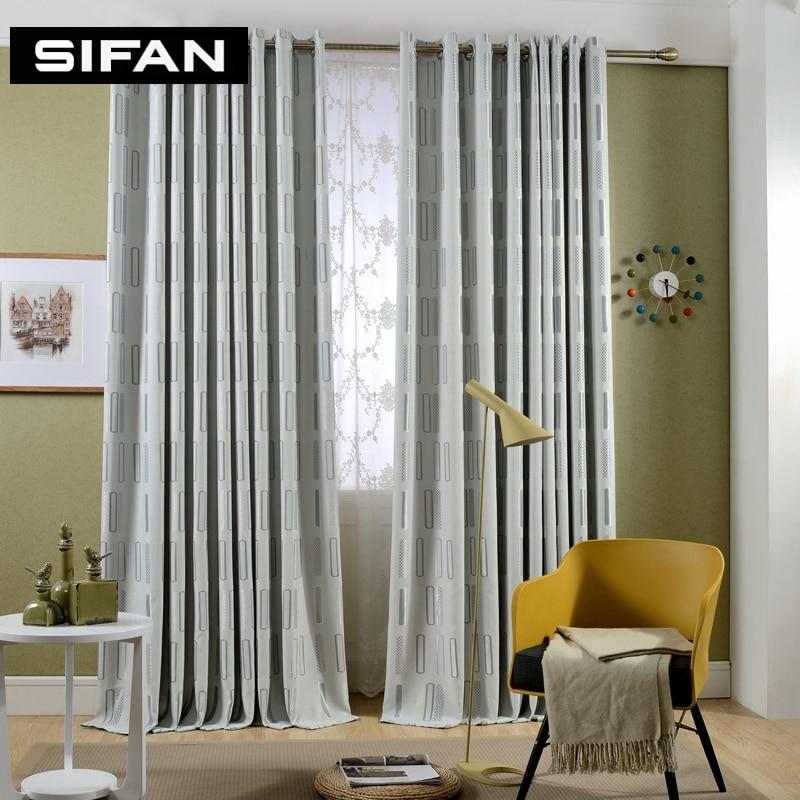 Rideaux modernes jacquard géométriques gris / café pour rideaux de - Textiles de maison