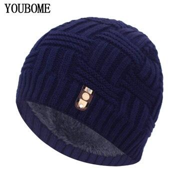 цена на YOUBOME Winter Hat Men Skullies Beanies Knitted Hats For Men Women Mask Male Warm Soft Thick Bonnet Gorras Knit Beanie Hat Cap