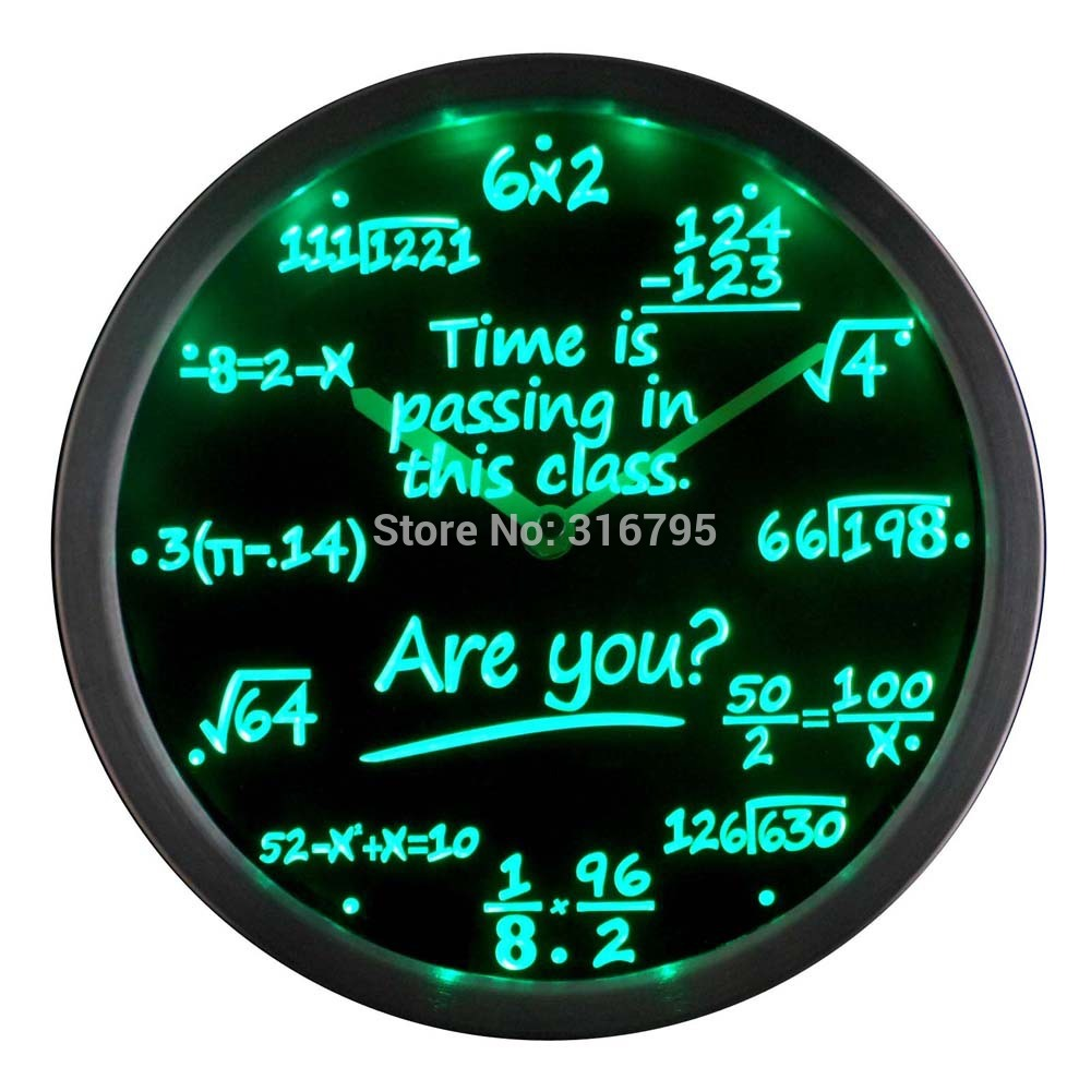 worksheet Clock Math aliexpress com buy nc0463 math class time is passing are you gift decor neon led wall clock from reliable phone suppliers o