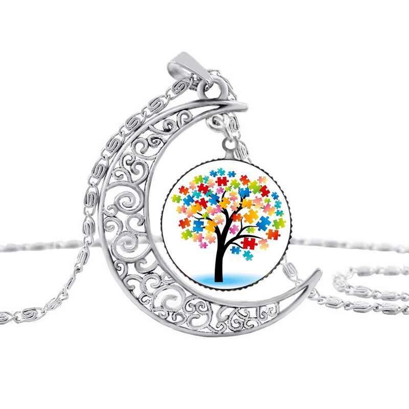 Suteyi аутизм красочные головоломки дерево символ Щепка кулон с полумесяцем заботится о аутизме размножение любовь ожерелье детские ювелирные изделия аксессуары