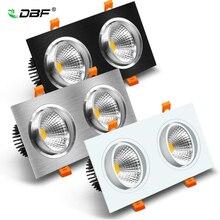 Foco de techo de LED, Lámpara empotrada de techo de doble cabezal, regulable, AC85 265V de interior, 14W, 18W, 24W, 30W