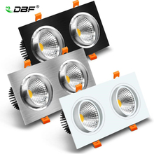 LED Ceiling Spot Light 14W 18W 24W 30W Double head Recessed Ceiling Downlight Lamp Dimmable led bulb AC85 265V Indoor Lightings