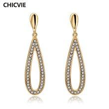 Chicvie модные Эффектные серьги Стразы для женщин длинные золотистые