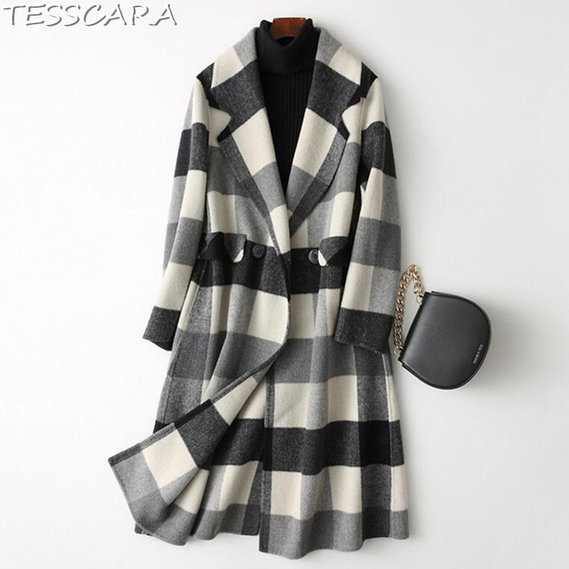 97b4b022d09 AZULINA Plus Size Winter Coat Women Ladies Tops Double Breasted Plaid Swing  Long Slim Casual Button Wool Coats Womens Outerwear