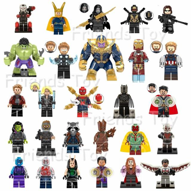 860aa940e 27pcs Marvel Avengers 3 Infinity War Thanos Iron-Man Thor Spider-Man Black  Panther Hulk Star-Lord CA Compatible With Lego