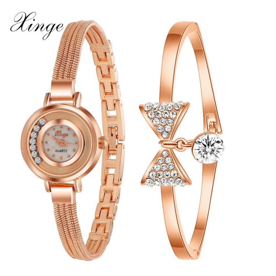 Xinge Famous Brand Women Watches Gold Crystal Waterproof Bow Bracelet Wristwatch Set Women Fashion Luxury Quartz-Watch