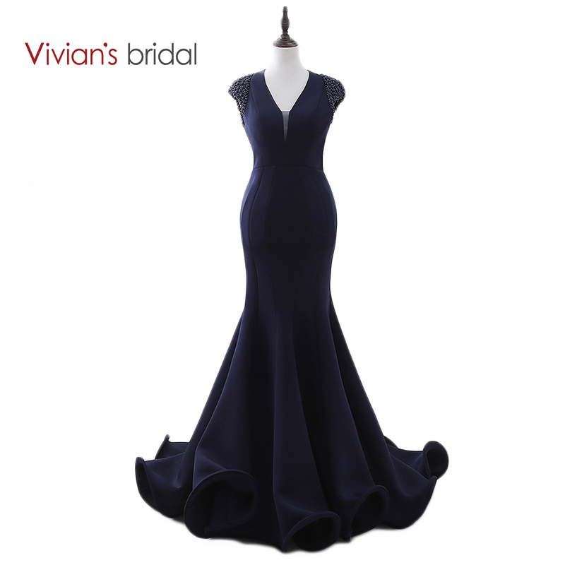 Vivian's Bridal Dark Navy Blue Mermaid Aftonklänning Cap Sleeve Formell Klänning För Aftonfest Backless Prom Dress Ruched Train