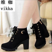 New spring Winter Women Boots high heels Lace-up Ladies suede Fashion snow Boots good quality Free Shipping