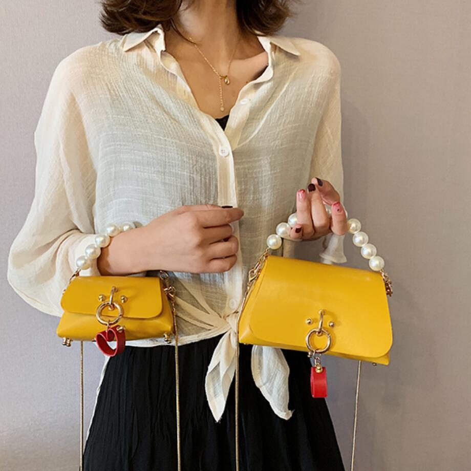Elegant Female Mini Pearl Tote Bag 2019 Fashion New Quality Leather Women's Designer Handbag Lock Chain Shoulder Messenger Bag