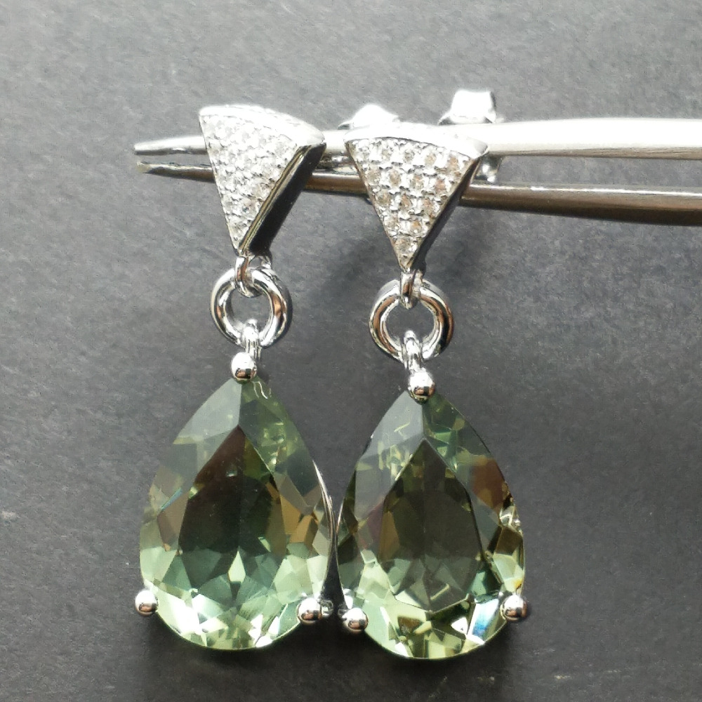 FLZB Big Huge Green Amethyst Earring in 925 Silver Beautiful Long Fashion Earring for Women Anniversary