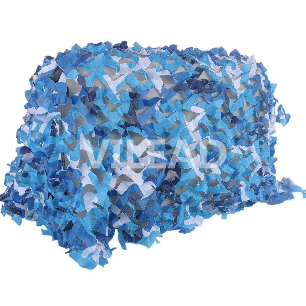 VILEAD 4M*6M Filet Camo Netting Blue Camouflage Netting Camo Tarp Camouflage Army Netting Sun Shelter For Celebration Decoration 5m 9m filet camo netting blue camouflage netting sun shelter served as theme party decoration beach shelter balcony tent