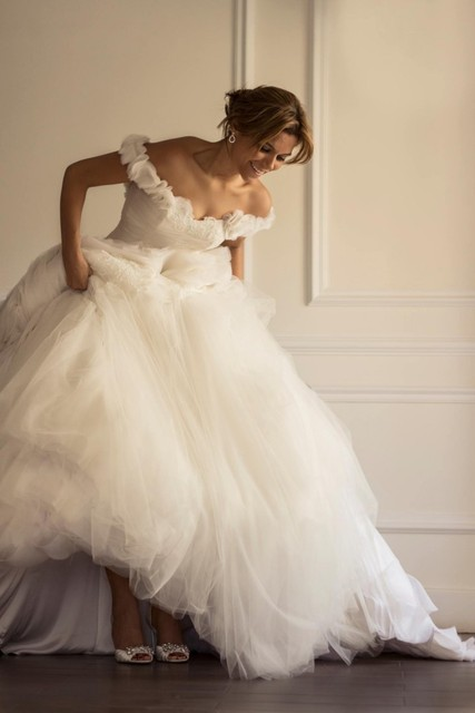 Princess Off Shoulder Ruffles Skirt Yasmine Yeya Couture Wedding ...