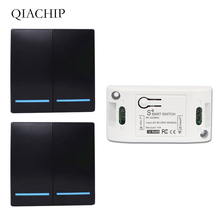 цена на QIACHIP 433Mhz Wireless RF Remote Control Switch AC 220V 1CH Receiver 86 Wall Panel Remote Transmitter 433 Mhz LED Light Switch