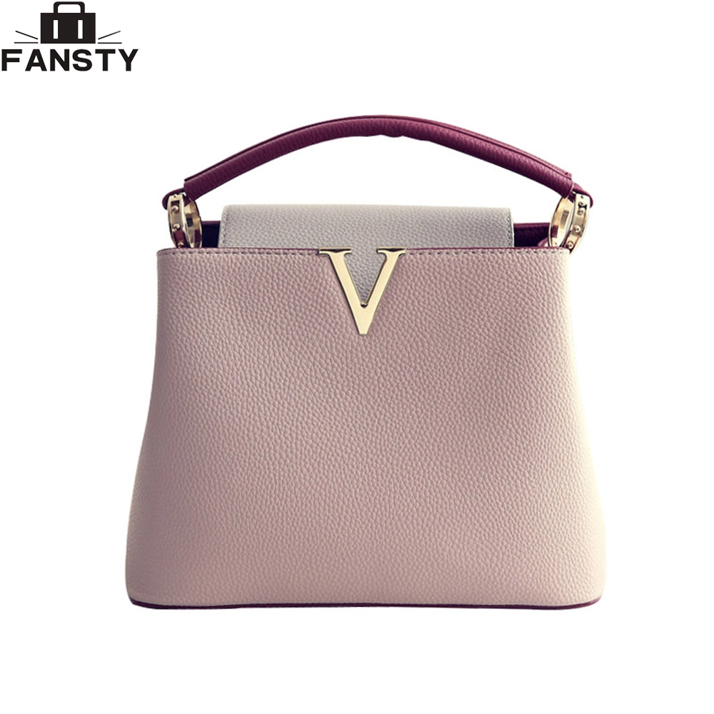 a5e36a8ce64 New Fashion Women Handbag Female V metal PU Leather crossbody Shoulder Bag  High Quality Tote Bag Panelled Messenger Bag for lady