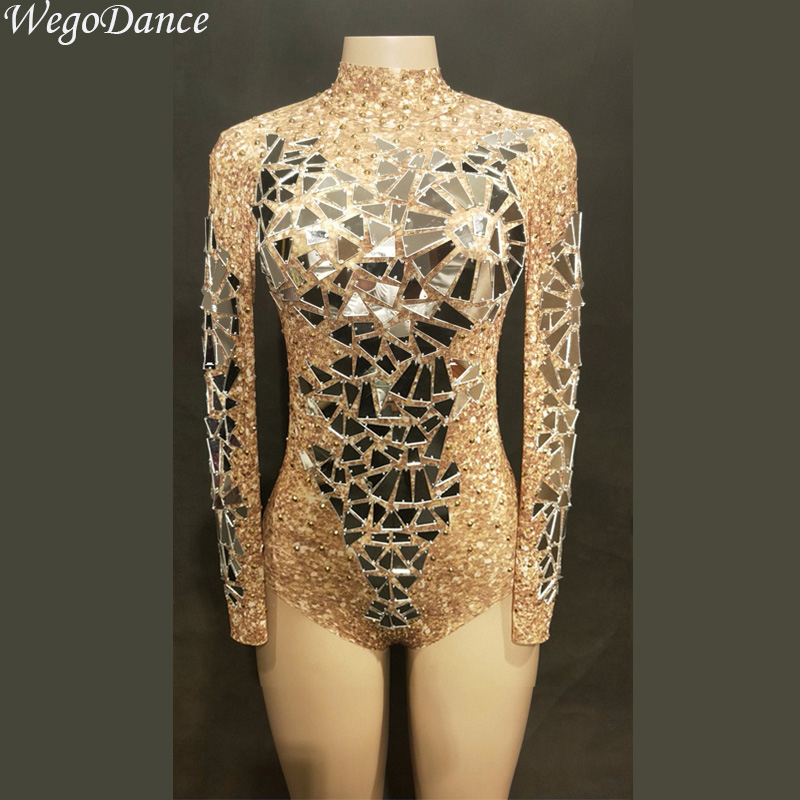 new Sexy Gold Mirrors Mesh Bodysuit Leotard Dance Performance Costume Sexy Transparent Net Costume Stage Dance Wear
