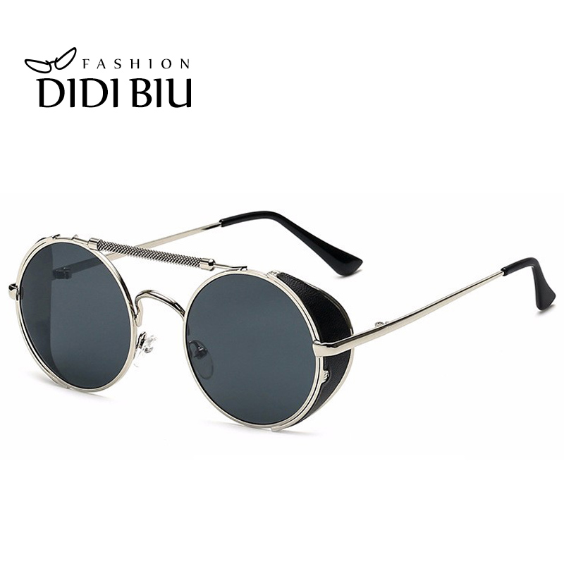 DIDI Hot Black Goggle Women Round Sunglasses Luxury Brand Men Glasses Retro Vintage Gothic Steampunk Sun