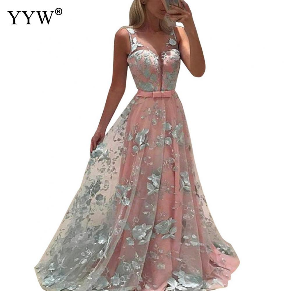 Women Bridesmaid Formal Long Dress Elegant Prom Ball Gowns Party Wedding Dress Sleeveless Embroidery Floor Length Sexy Vestidos