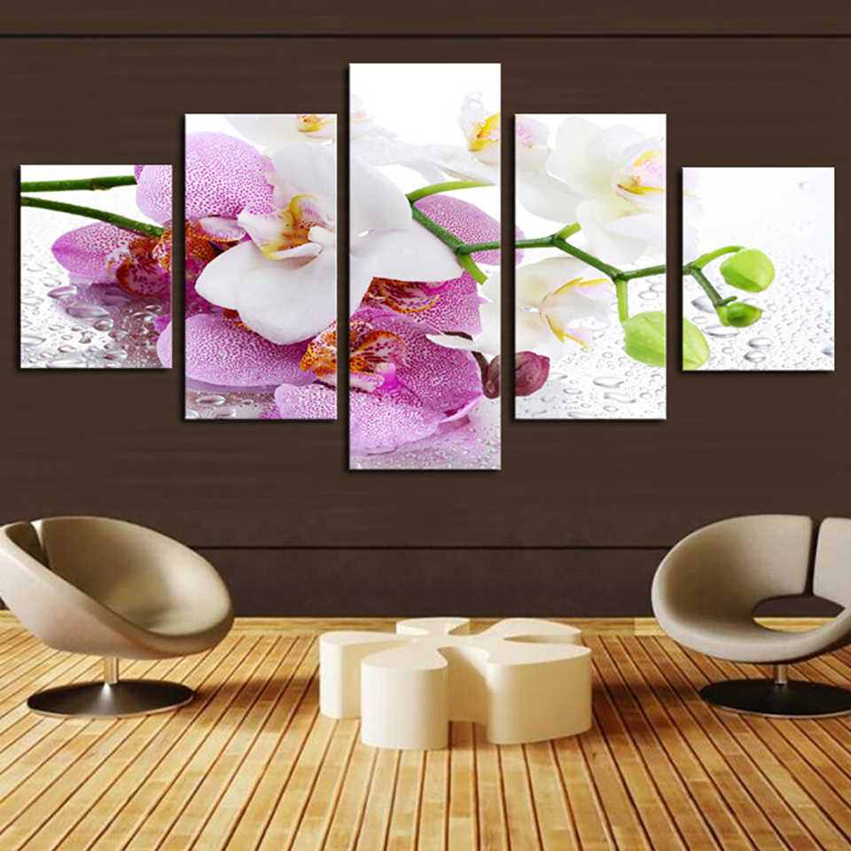Home Frame Living Room HD Printed Modern 5 Panel Beautiful Orchid Modular Decoration Posters Picture On Canvas Wall Art Painting