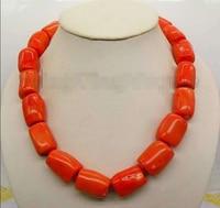 >>> >>> 22*18mm Orange Natural coral column stick Chain Alloy Clasp 18 necklace_CON22
