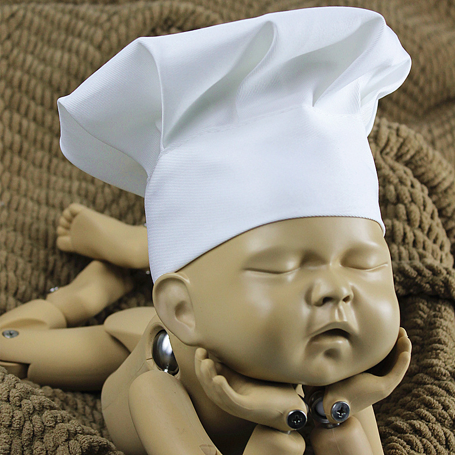 Newborn chef hat photography props unisex baby photo shoot white hats infant picture shoot cap accessories baby fotografie porps in hats caps from mother