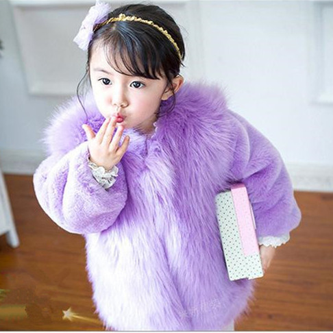 ФОТО Fashion Kids Clothes Winter Fur Coat For Girls 80-150CM Baby Clothes Elegant Girls Outerwear Luxury Faux Fur Clothing AF-1670
