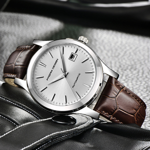 Image 1 - 2019 new Ultra thin simple classic men mechanical watches business waterproof watch luxury brand genuine leather automatic watch
