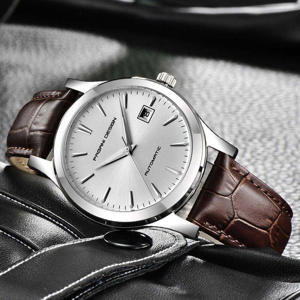 2019 nowy ultra cienki proste klasyczne zegarki mechaniczne dla mężczyzn wodoodporny zegarek biznesowy luksusowe marki prawdziwej skóry automatyczny zegarek w Zegarki mechaniczne od Zegarki na  Grupa 1