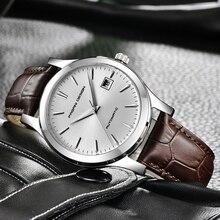 2019 חדש דק פשוט קלאסי גברים מכאני שעונים עסקי שעון עמיד למים יוקרה מותג אמיתי עור אוטומטי שעון