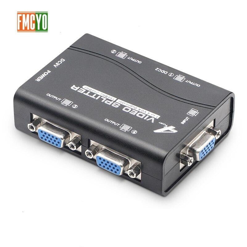 Kvm Splitter VGA 4 Port USB 2.0 KVM Splitter 1440P VGA SVGA Switcher Splitter Box For Keyboard Mouse