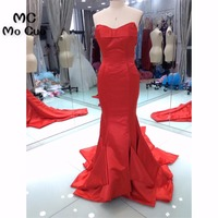 Fasion 2018 New Arrival Mermaid Prom Dresses Long Ruffles Pleat Count Train Satin Red Formal Evening