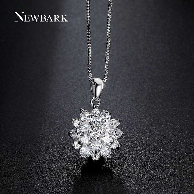 font b NEWBARK b font Cute Clear CZ Diamond Lotus Flower Cluster Design Pendant font