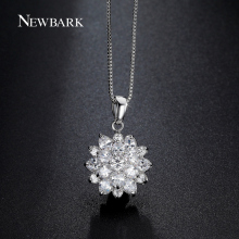 NEWBARK Cute Clear CZ Diamond Lotus Flower Cluster Design Pendant Necklace Box Chain White Gold Plated Fashion Jewelry Gifts