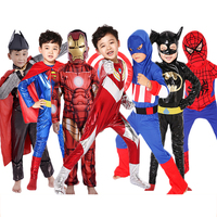 Superhero Kids Superman Batman Jumpsuits Children Boys Iron Man America Captain Clothes Spiderman Girls Thor Cosplay Costumes