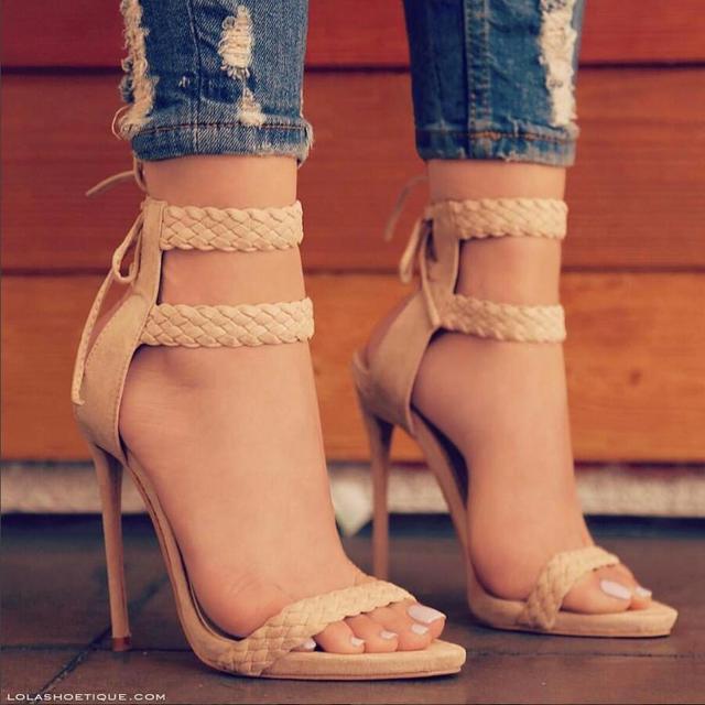 Parkside Wind Fashion Female Sandals Summer Faux Suede Women's High Heel Shoes High Heels Party Women Sandals Size 36-41  -5