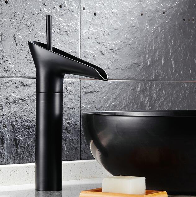 7 Faucet Finishes For Fabulous Bathrooms: Wine Glass Style Black Finish Bathroom Basin Sink Faucet