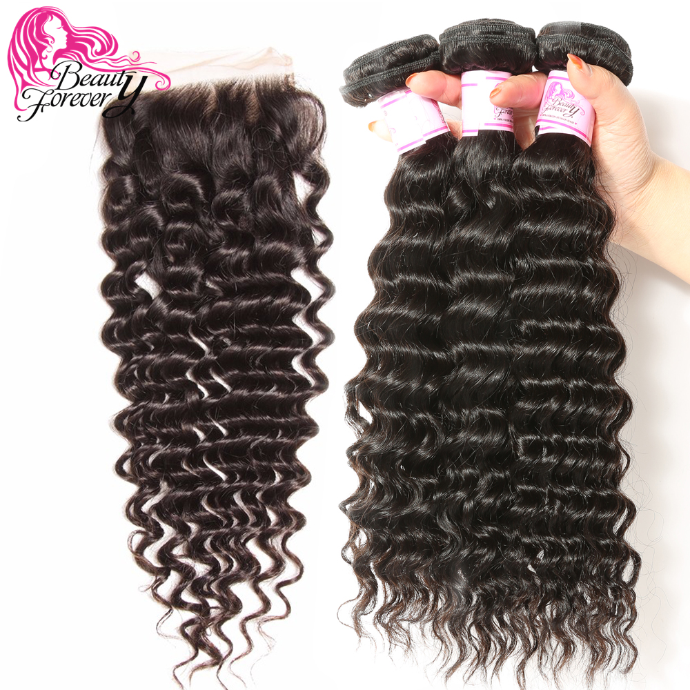 Beauty Forever Peruvian Deep Wave Human Hair Bundles With Closure Free Part 4 4 100 Remy