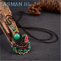 Vintage Cloisonne Necklace Pendant Creative Folk Style Glass Pendant Long Sweater Chain For Women