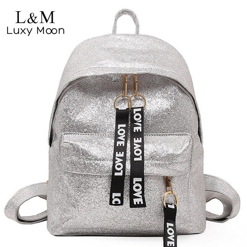Teenage Girls Silver Backpack Fashion Glitter Gold School Bag For Female Sequins Backpacks Women Bling Rucksack mochila XA398H