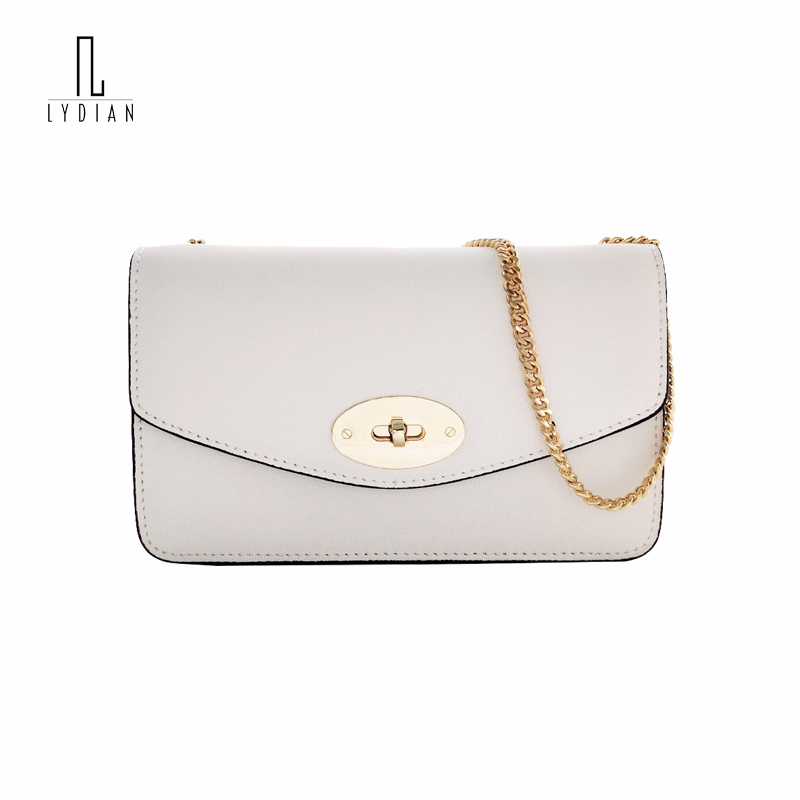 Lydian Cowhide Handbags 2018 New Summer Luxury Handbags Women Bags Designer Chain Shoulder Bag Simple Fashion Small Black Clutch цены
